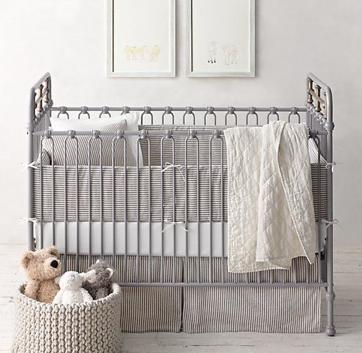 Garment Dyed Ticking Stripe Nursery Bedding Collection Restoration Hardware