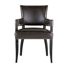 Two Of These As Captains Chairs Fallyn Dining Arm Chair In Grey Leather Dining Arm Chairs Side Chairs Dining Dining Arm Chair Dining room chairs with arms