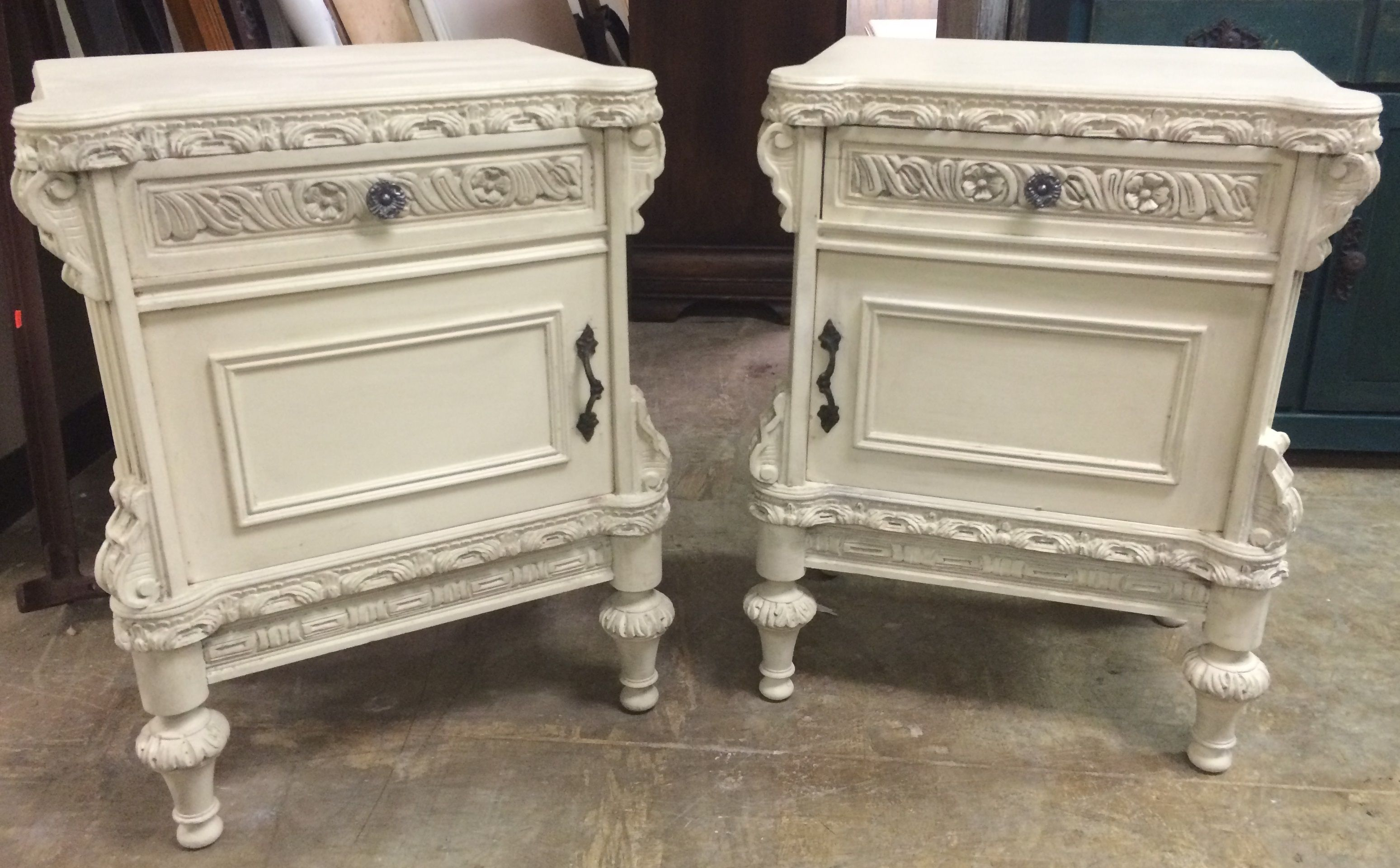 """Pairs of nightstands are hard for me to find so when we find pairs like these I get excited! These ones came all the way from France and are at least 75 years old. What do you think? The dimensions are 22"""" L, 15"""" W, 30"""" H. SOLD!! for $325 https://www.pinterest.com/shabbychictexas/my-shabby-chic-nightstands/"""