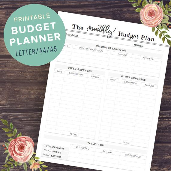 budget planner printable budget planner book a5 a4 letter half size financial planner