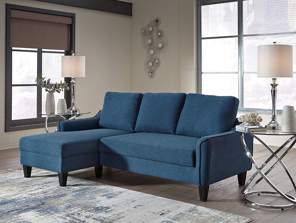 Amazon Com Ashley Jarreau Mid Century Blue Upholstered Sofa Chaise Sleeper Kitchen Dining Chaise Sofa Ashley Furniture Sofas Furniture
