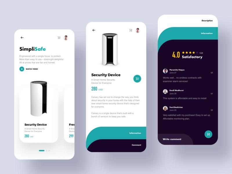 SimpliSafe Concept store Concept, Web inspiration, App