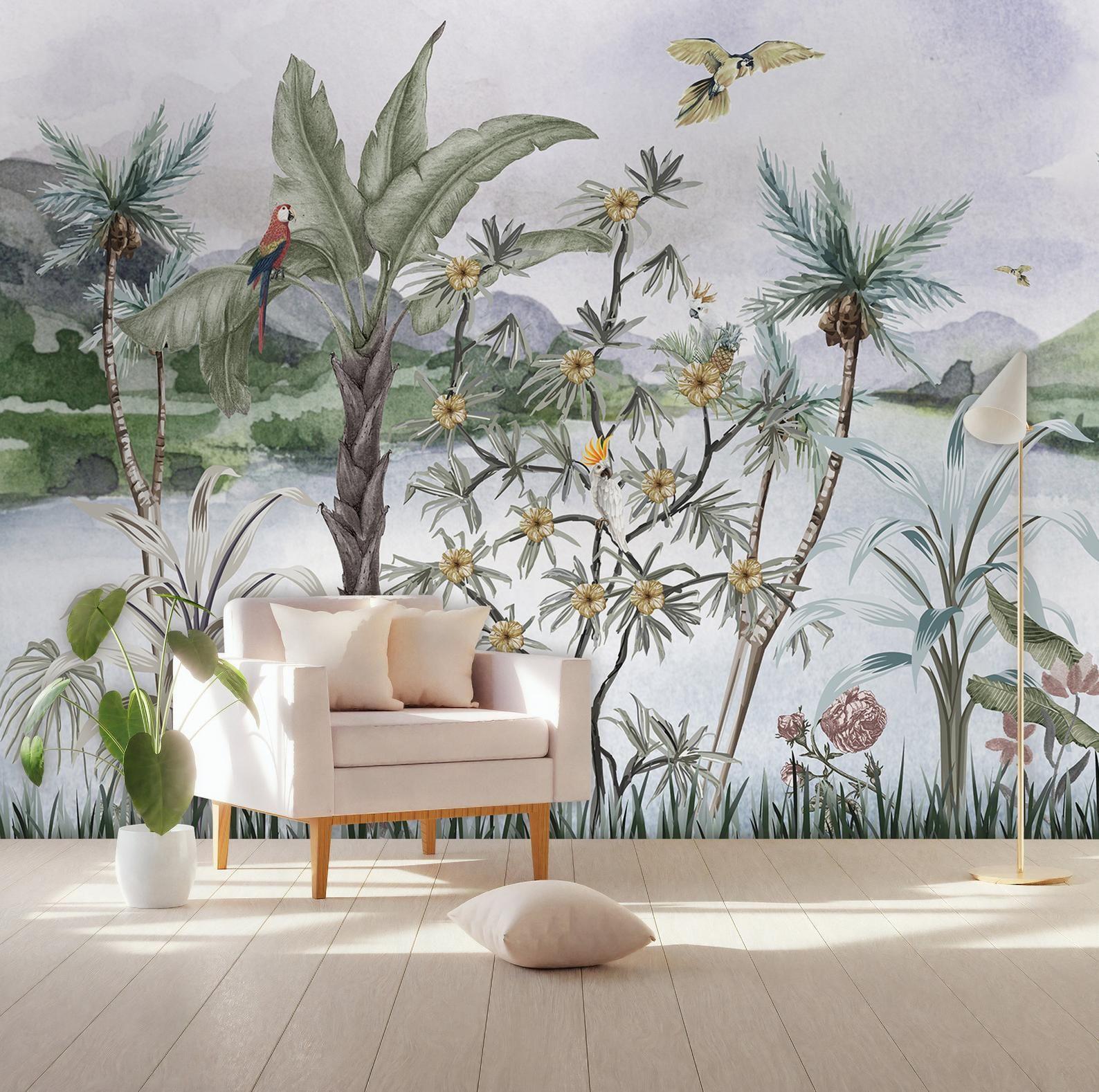 Tropical Wallpaper Self Adhesive Peel And Stick River Etsy In 2020 Tropical Wallpaper Landscape Walls Wallpaper