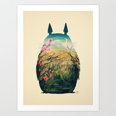 While they are usually seen in the forests of rural Japan, a Totoro could appear anywhere, even on your wall. Capture the whimsical charm of our favorite forest spirit and the great outdoors with this art print.