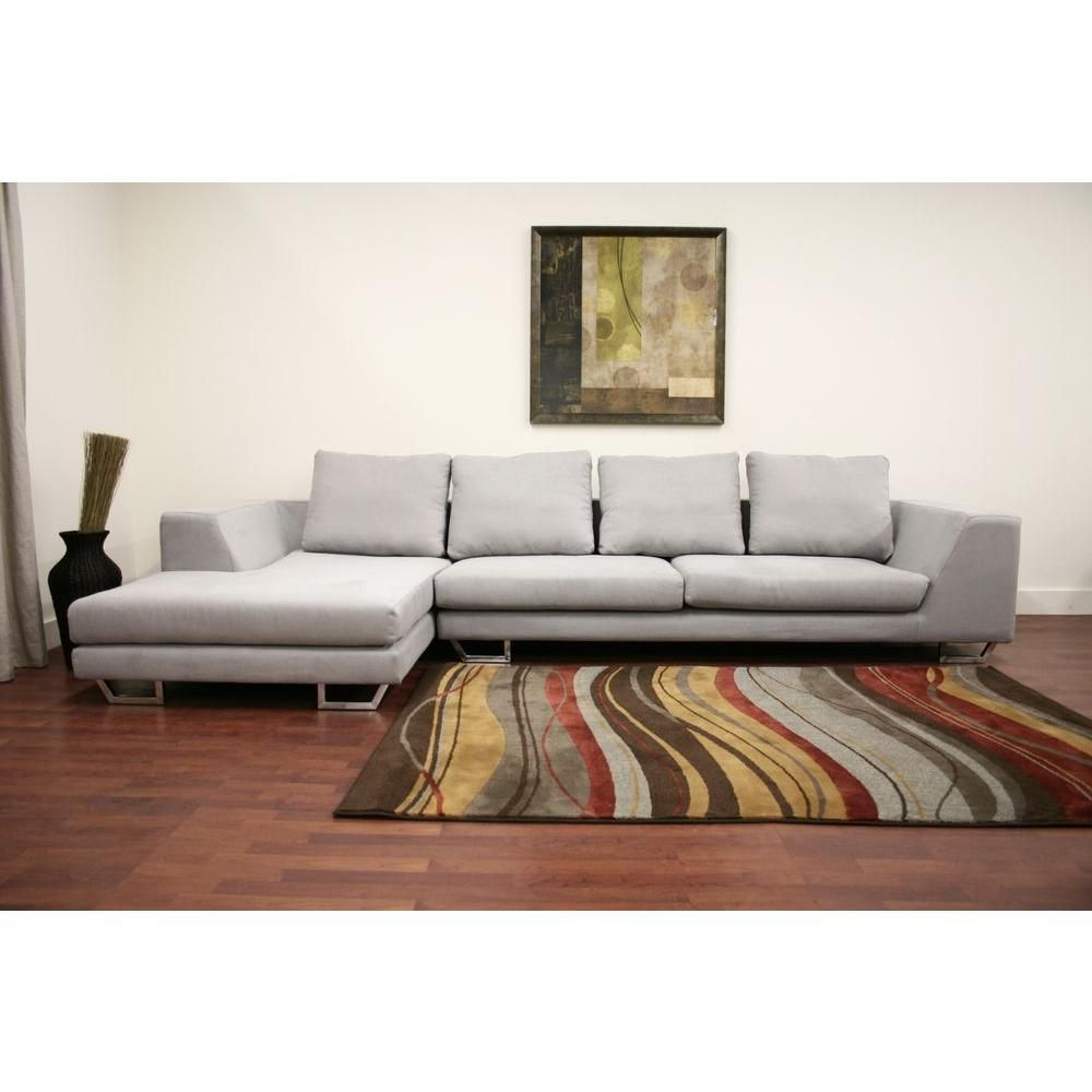 Metropolitan Twill Large 2Piece Sectional Sofa with Chaise in Gray