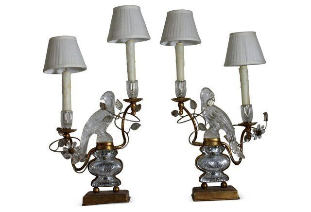 1960s Bagues Crystal Parrot Lamps, Pair