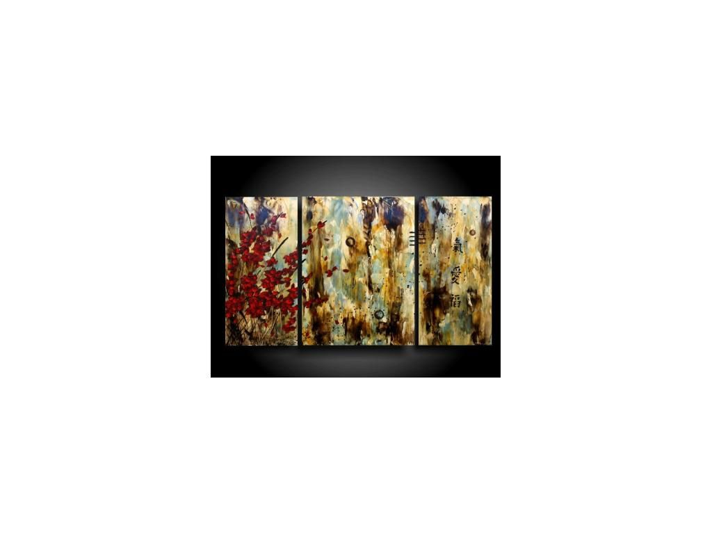 Original Abstract Painting Triptych Asian Art With Chinese Symbols Encaustic Art Spiritual Earthy Outsider Th Abstract Original Abstract Painting Encaustic Art