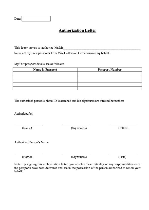 Sample Passport Letter of Authorization resumesdesign – Sample Letter of Authorization