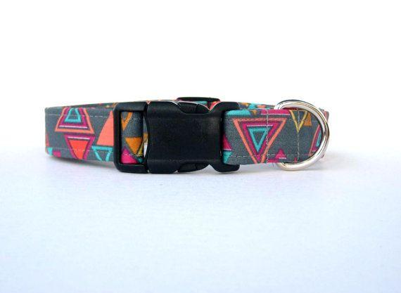 Adjustable Dog Collar  Triangular Gray  1 by MuttsandMittens