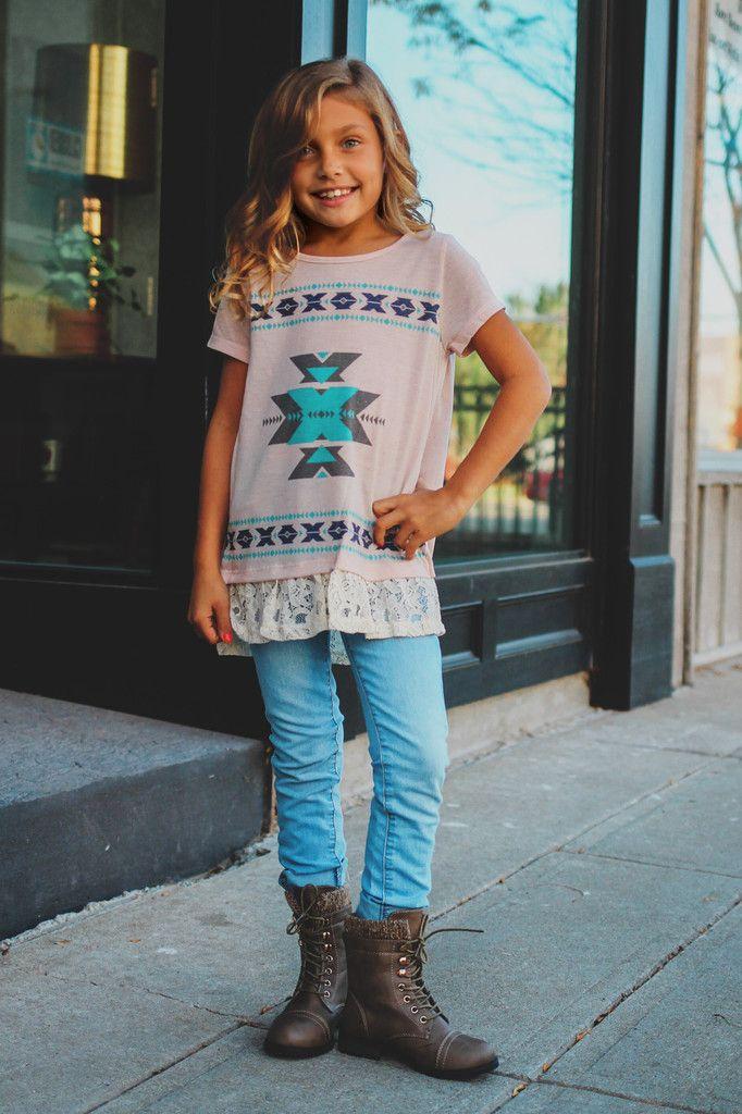 Kids Geometric Aztec Print Split Back Top – UOIOnline.com: Women's Clothing Boutique