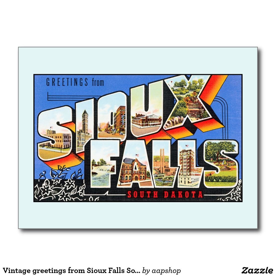 Vintage Greetings From Sioux Falls South Dakota Postcard Sioux