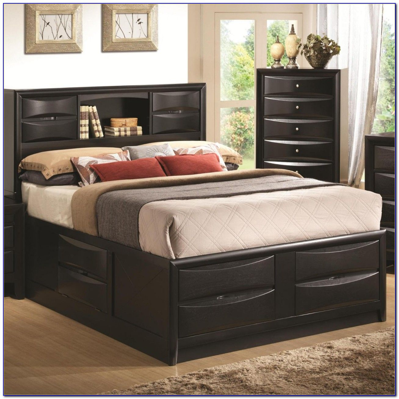 Bedroom Wooden Double Bed With Storage