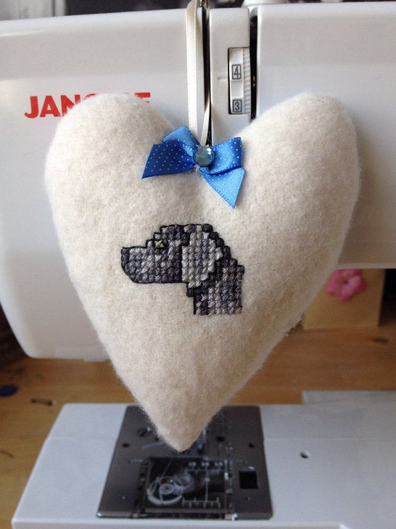 Fabric hanging heart featuring hand embroidered Weinaraner on Etsy, £8.50