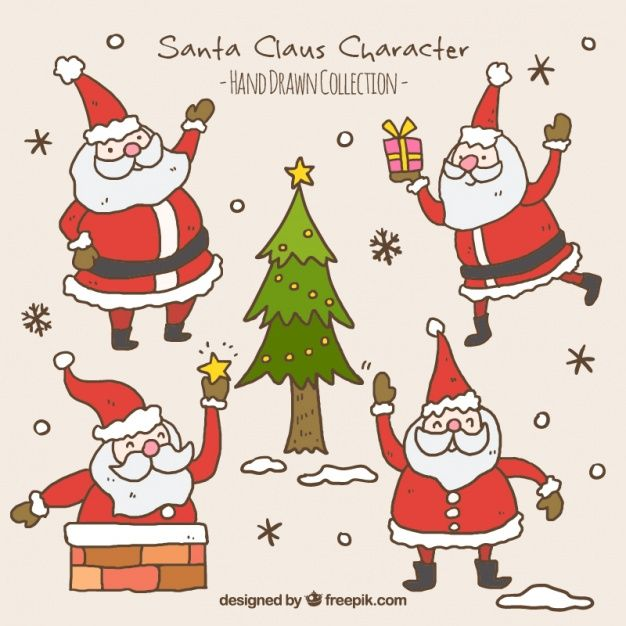Download Pack Of Hand Drawn Santa Claus With A Christmas Tree For Free How To Draw Santa Christmas Drawing How To Draw Hands