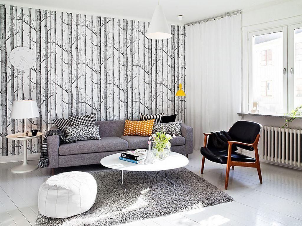 Modern Scandinavian Living Room Design Features A Gorgeous Wallpaper Supplemen Scandinavian Design Living Room Living Room Scandinavian Minimalist Living Room