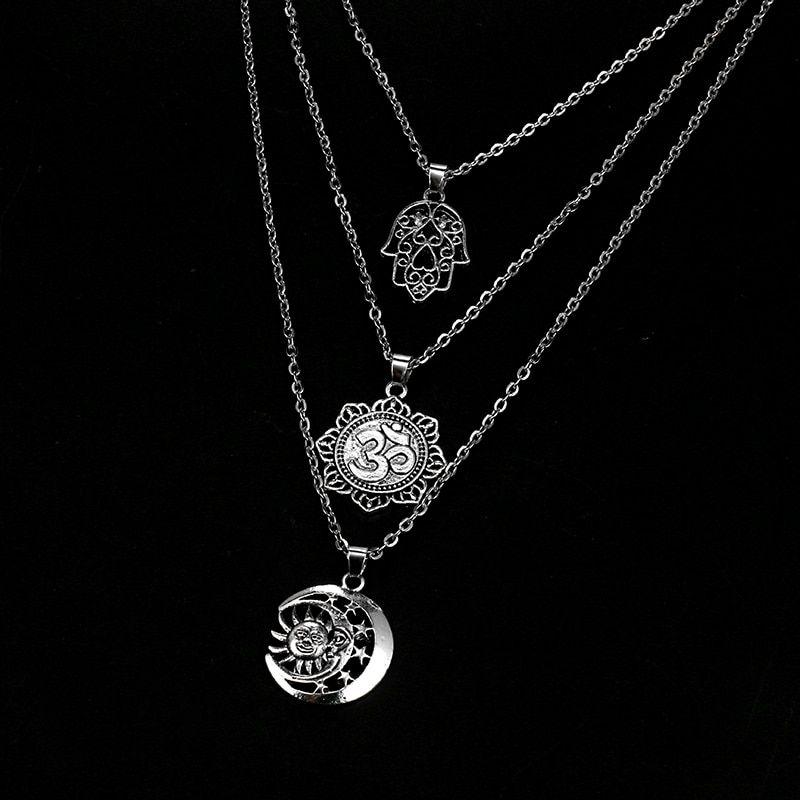 collier lune etoile soleil argent