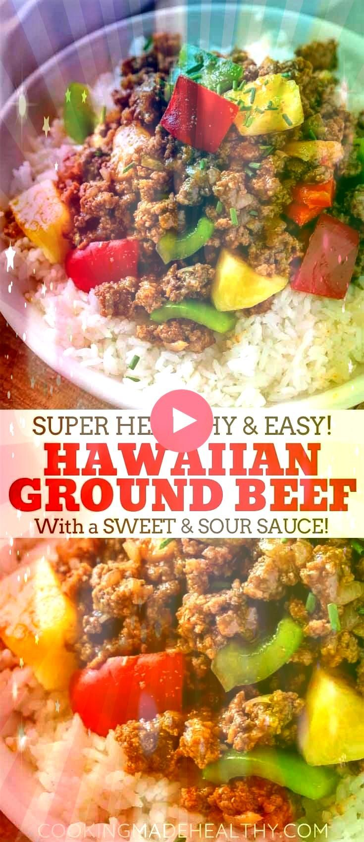 Hawaiian Beef made with lean ground beef bell peppers onion and pineapple in a sweet and savory sauce made in under 30 minutesGround Hawaiian Beef made with lean ground b...