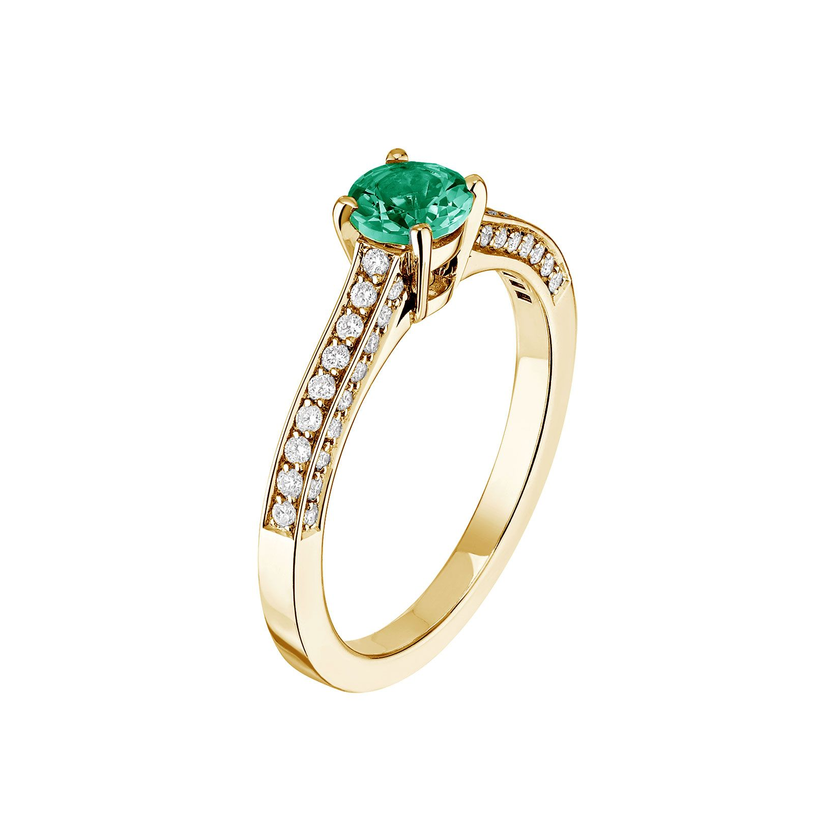 Bague Or Jaune 750 ‰ Emeraude Et Diamants Lady So Pavée