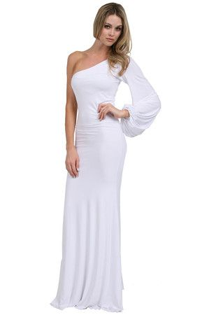 The One Shoulder Bell Sleeve Dress in White by Savee Couture at CoutureCandy.com