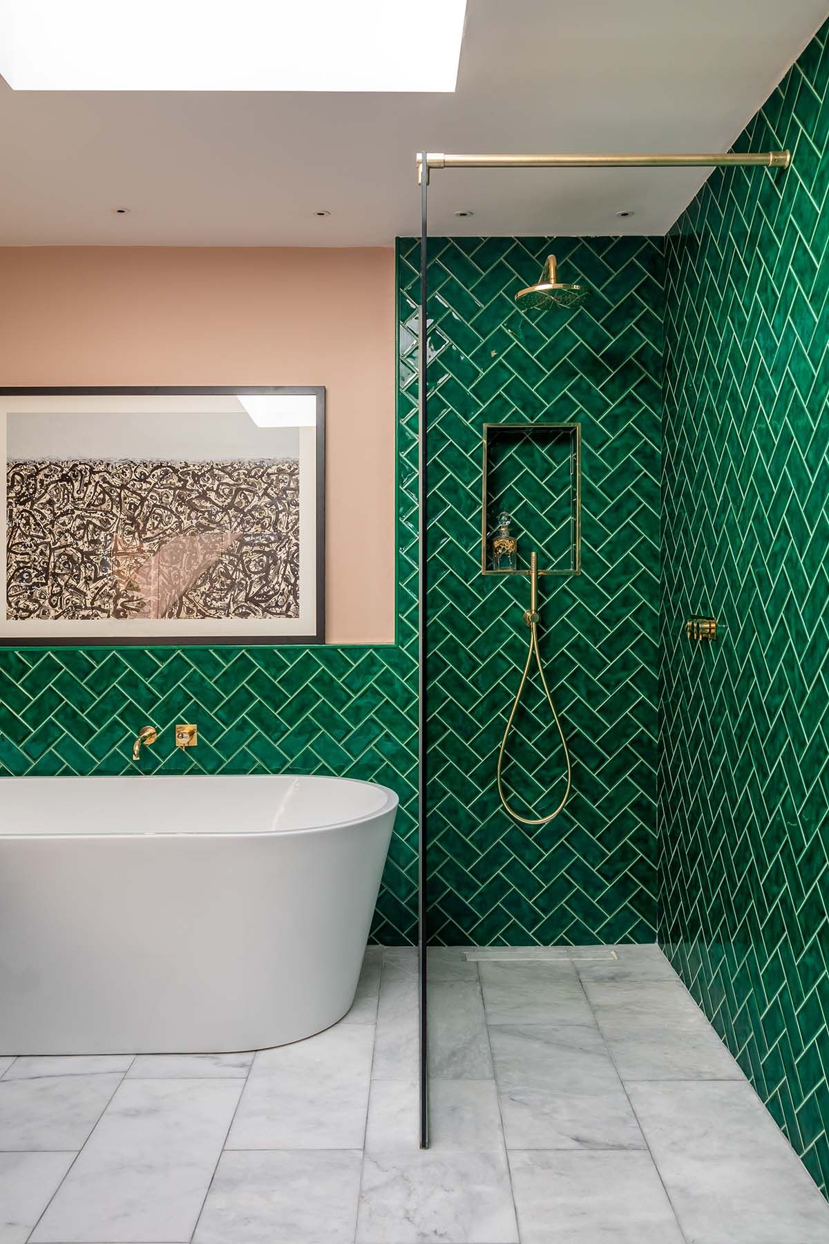 dark green bathroom tiles emerald green metro tiled shower pink ceramic sinks and 18047 | cedc6c091d5ea73d76bed080aae4fed2