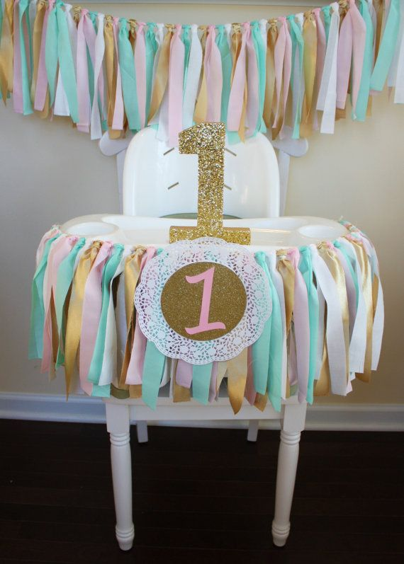 Mint pink gold garland 1st birthday garland 1st for Table design for 1st birthday