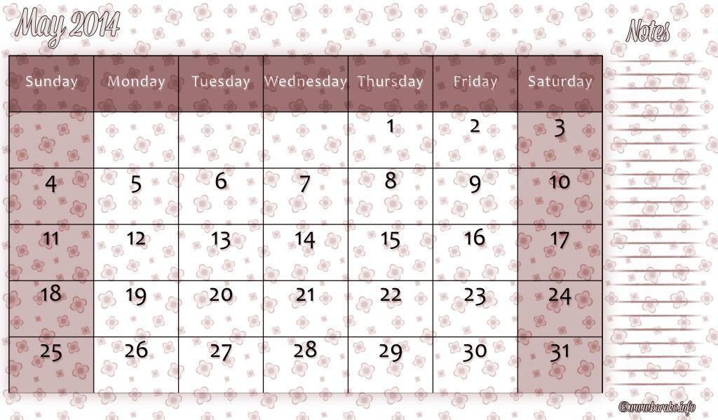 free printable calendar templates for may 2014 Free Printable