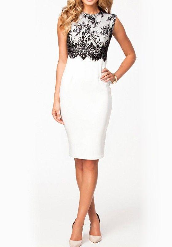 White Plain Lace Round Neck Sleeveless Dress - Midi Dresses - Dresses