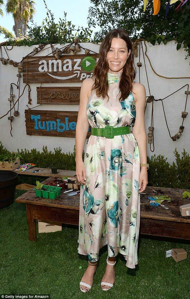 Summer fashion: Actress Jessica Biel wore an elegant floral dress to a party celebrating Amazon's children show Tumble Leaf in Los Angeles on Sunday