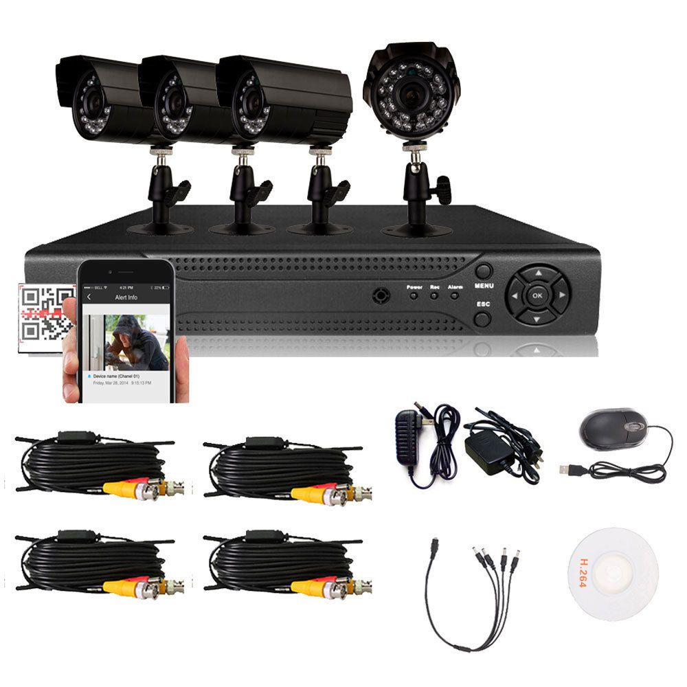 Home Security System 4 Camera HDMI DVR Indoor / Outdoor CCTV With ...