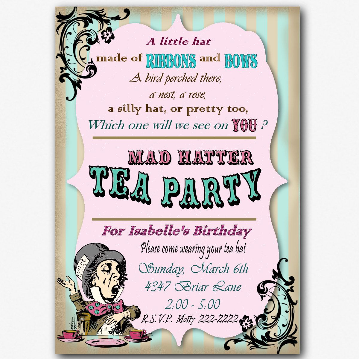 Mad Hatter Birthday Tea Party Invitation Custom 5 X 7 Printable File