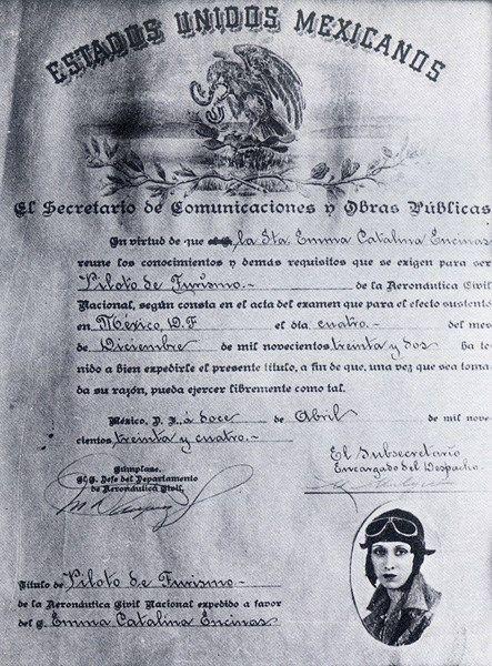 Primer título de piloto aviador otorgado a una mujer mexicana en 1934
