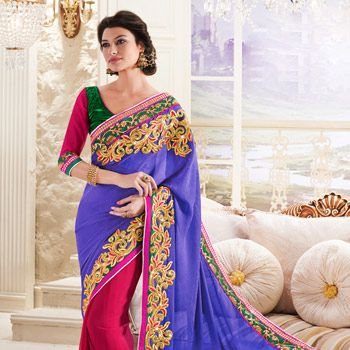 Violet Faux Georgette Jacquard and Faux Georgette #Saree with Blouse