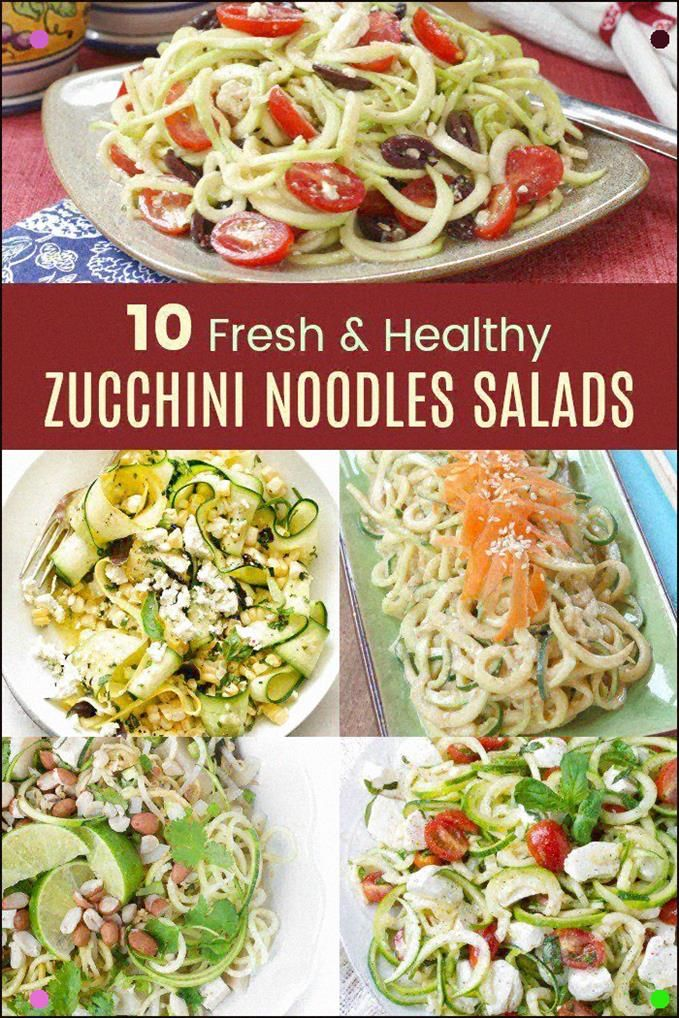10 Fresh And Healthy Zucchini Noodles Salads - These Cold Zoodles Recipes Make Delicious Low Carb, Gluten Free, And Veggie Packed Summer Side Dishes Or Light Meals For Hot Days. Break Out Your Spiralizers To Make These Zoodle Salad Recipes