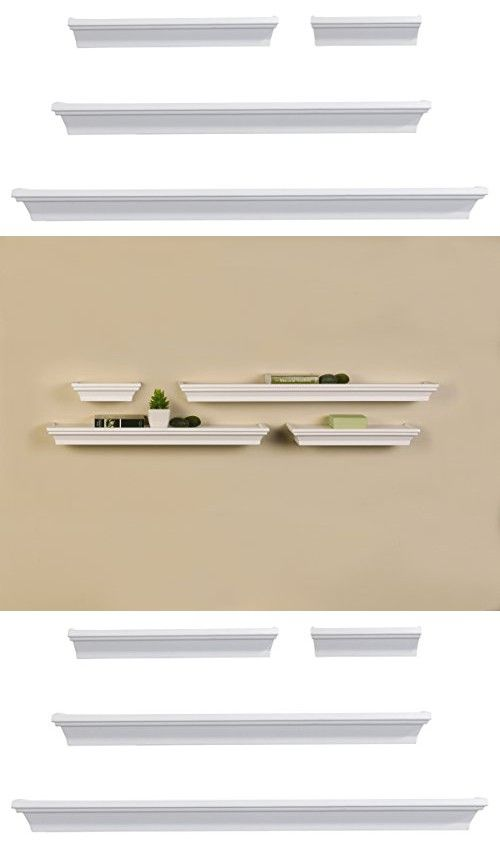 Melannco Floating Shelves Melannco Wall Shelves Set Of 4 White  Floating Shelves