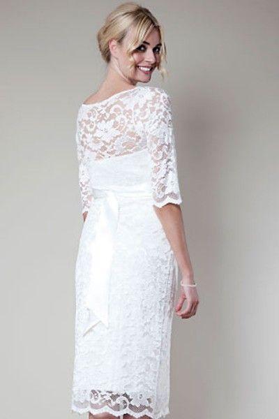 Y Zipper Tea Length Off The Shoulder Half Sleeve Lace Sheath Maternity Wedding Dressesbridesmaid