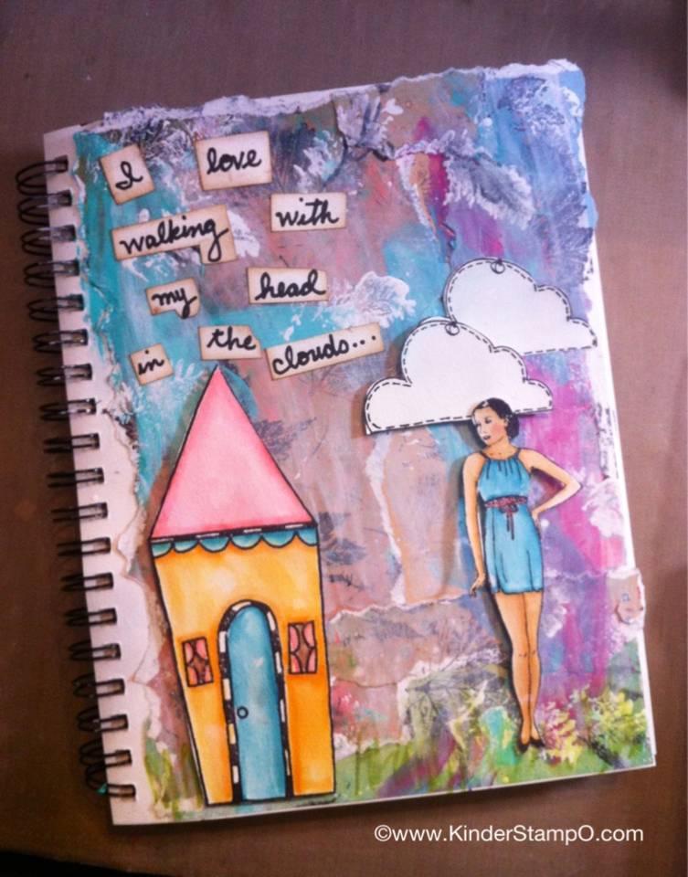 Mixed Media Journal page created using the Unity Stamp Company Poised & Pretty Stamp Set