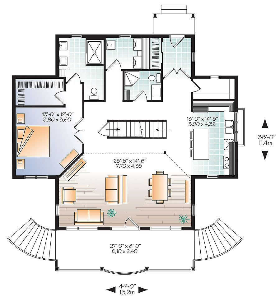 Plan 22407dr Charming Country Cottage House Plans Drummond House Plans Floor Plans