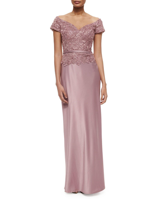 La femme belted offtheshoulder lace u satin gown mauve wedding