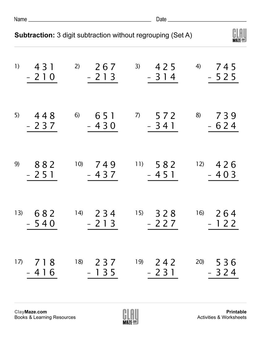 download our free printable 3 digit subtraction worksheet with no regrouping 20 subtraction. Black Bedroom Furniture Sets. Home Design Ideas