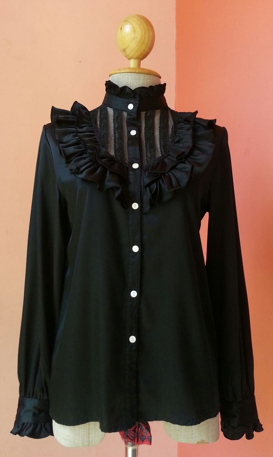 fdd0e07a5e9b0 Victorian Top Vintage 80s Black Top Retro Top Womens Blouses 1980s Black  Polyester Japanese Blouse With Long Sleeve