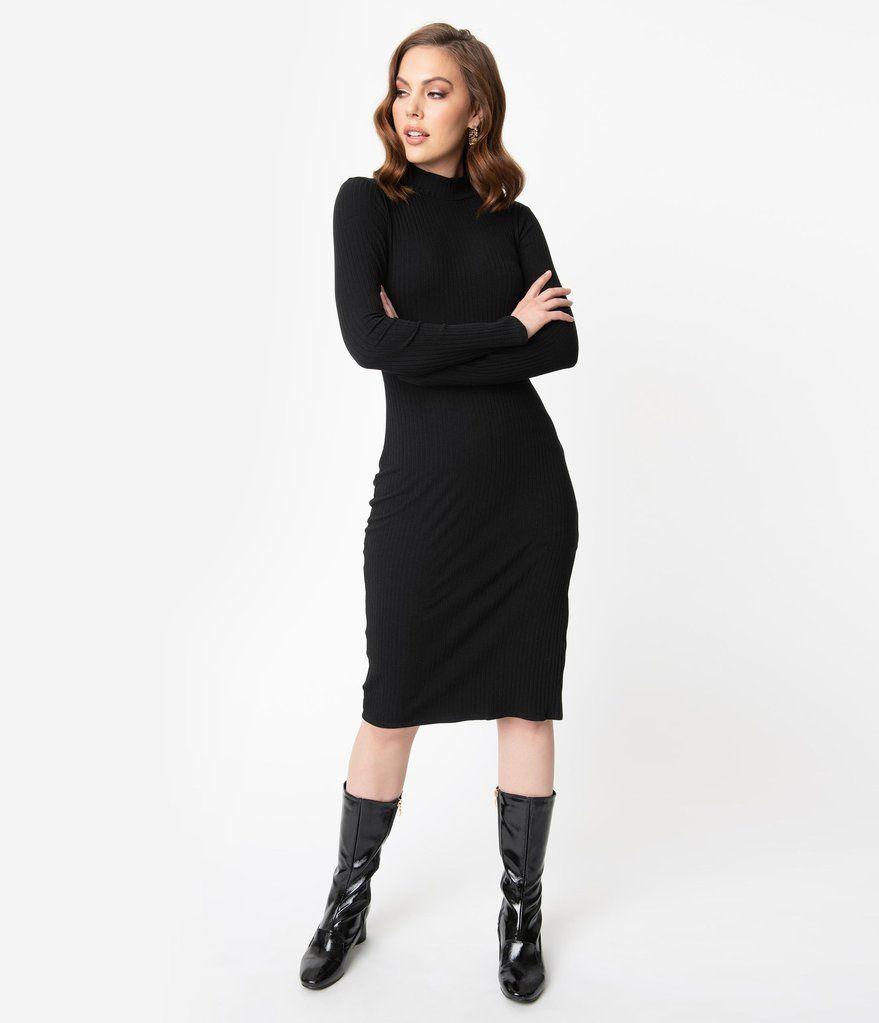 Black Ribbed Mock Neck Long Sleeve Sweater Wiggle Dress