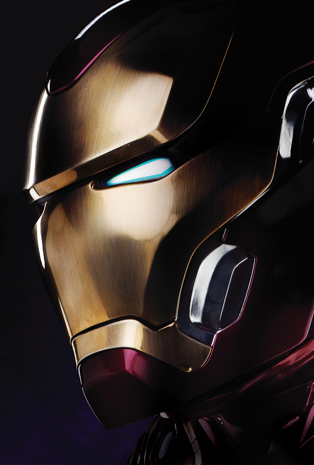 Official helmeted Iron Man poster edited to make it
