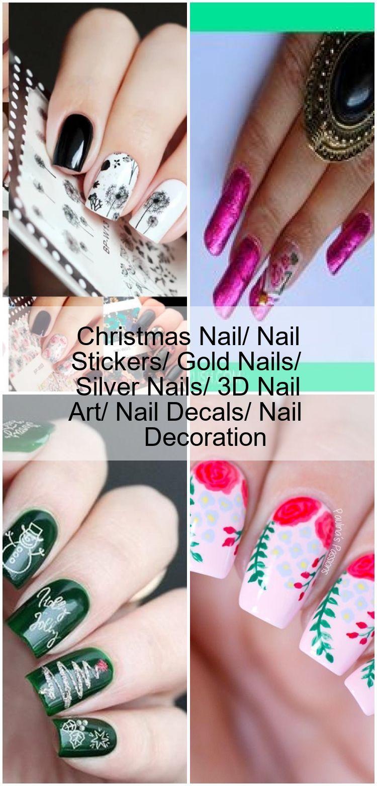 Christmas Nail Nail Stickers Gold Nails Silver Nails 3d Nail
