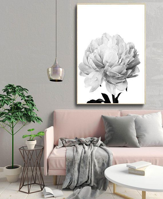 wall art flower print black and white photography minimal decor Nordic home nature peony wall art flower print black and white photography minimal decor Nordic home natur...