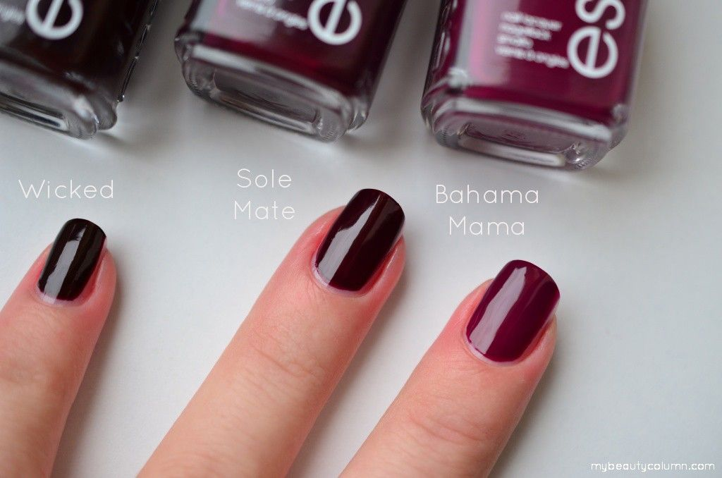 Essie swatches: Bahama Mama vs Sole Mate vs Wicked ...