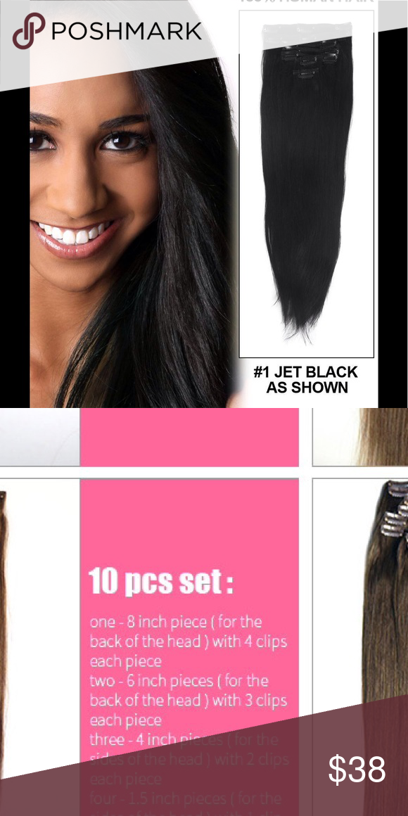16 Jet Blk 1 10pc Clip In Human Hair Extension Nwt Pinterest