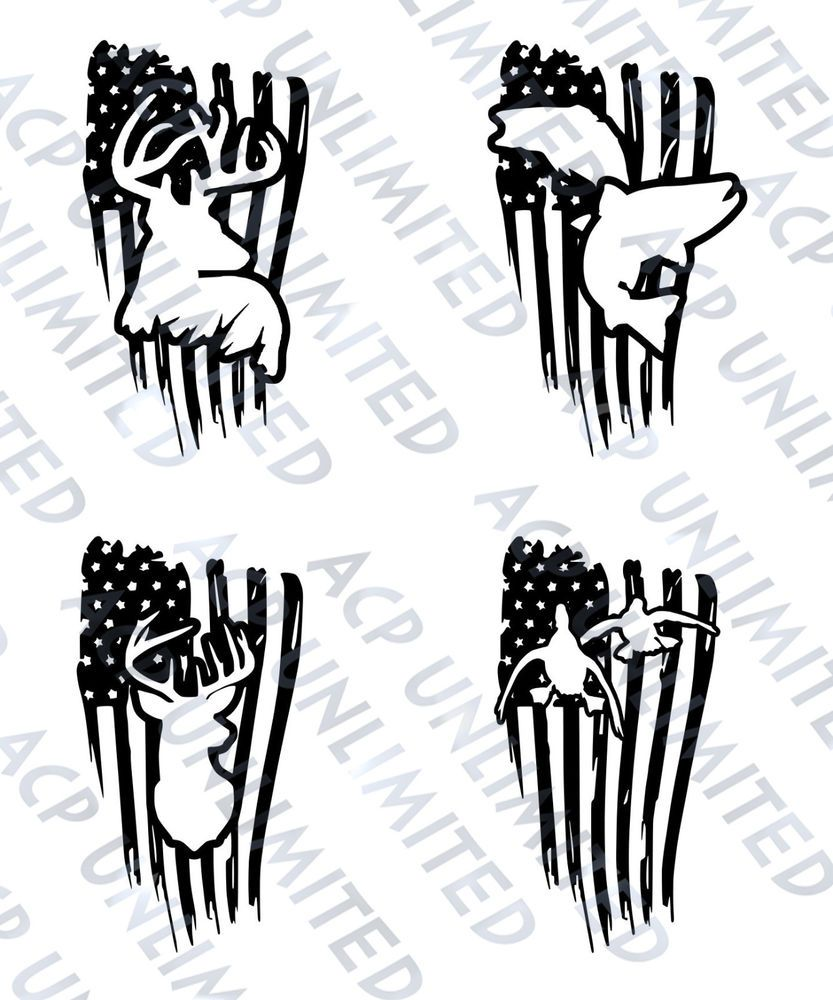 Distressed flag decal sticker merica outdoorsmen hunting fishing deer ducks jeep unbranded