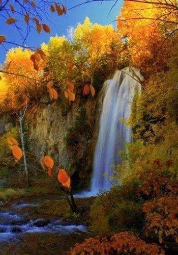 Autumn waterfall ~ Spearfish Canyon, South Dakota