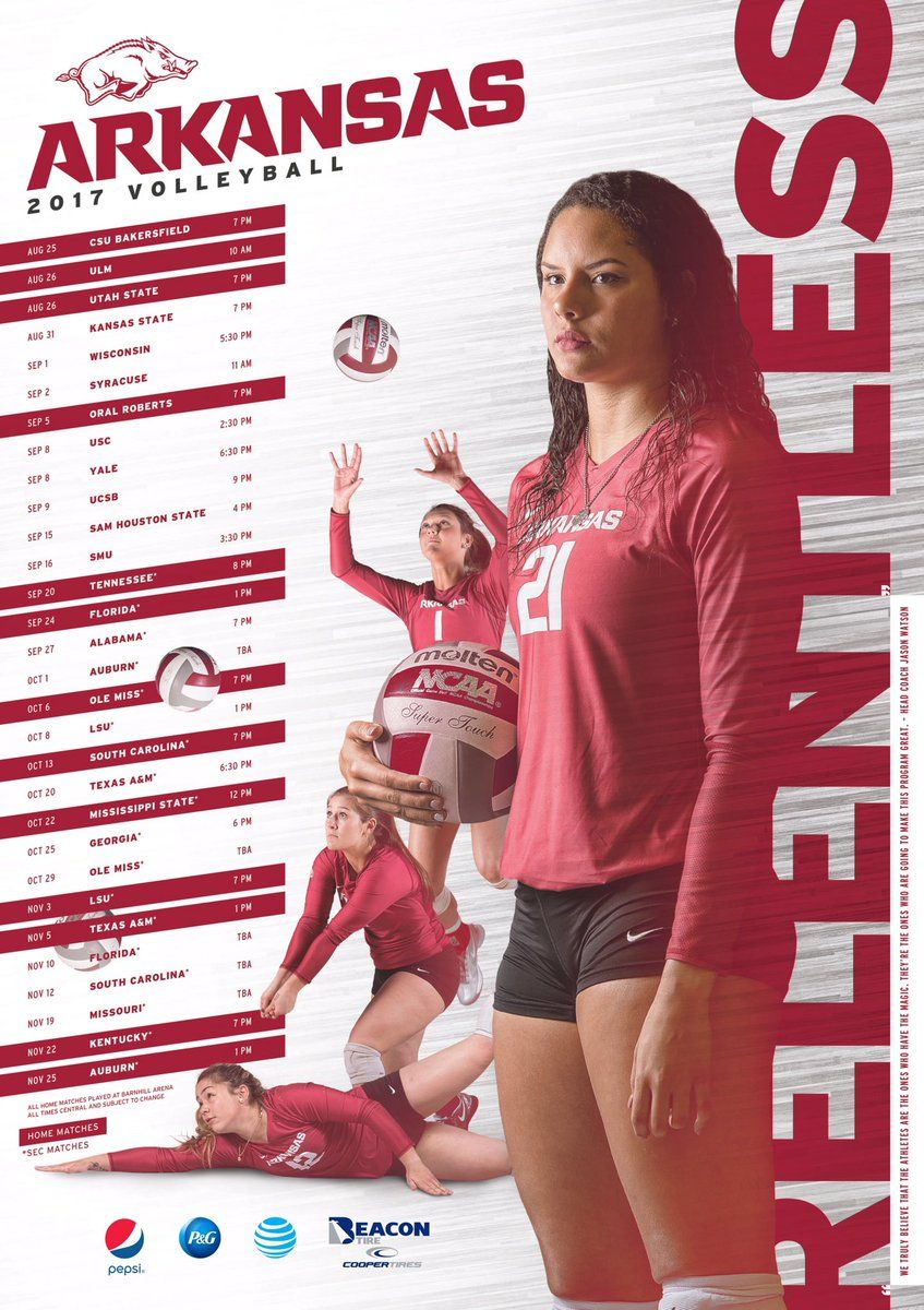 2017 Arkansas Volleyball Poster Volleyball Posters Volleyball Sports Graphic Design