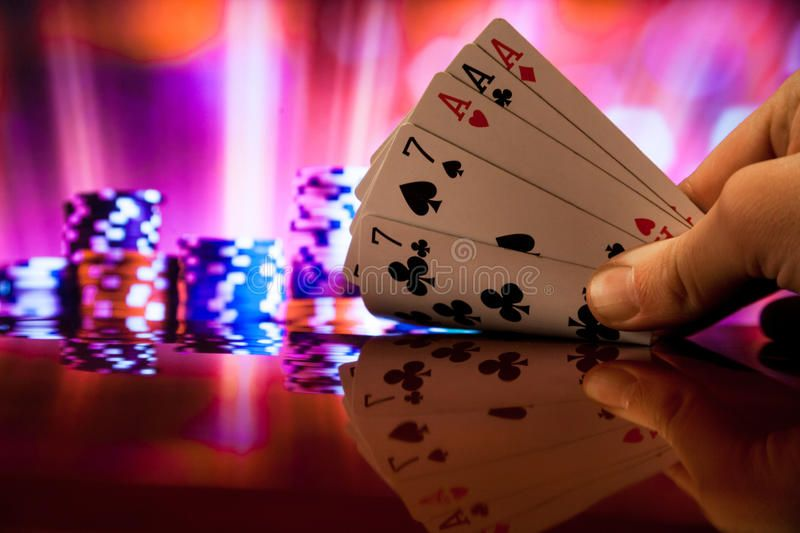 Full House Poker Cards Combination On Blurred Background Casino Luck Fortune Ro Ad Cards Combination Blurred Full Ho Poker Cards Poker Full House